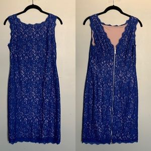 Adrianna Papell blue lace overlay sheath dress 10